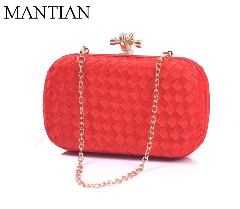 Women Evening Clutch Bag Silk Weave Party Portable Pouch Lady Chain Bag Female Handbags Wedding Gifts <br>