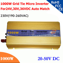Grid tie micro inverter 1000W 20V-50VDC, 190V-260V AC, workable for 1200W, 24V, 30V, 36V solar panel or wind system, gold