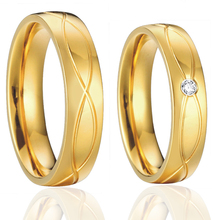 gold color wedding band engagement promise ring set pair Anillo Anel Ouro vintage costume couples bridal jewellery for lovers