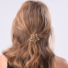 Simple Fashion Gold-color Hollow Star Hair Clips for Women Girls metal Hair Pins Bridal Hair Jewelry Accessories A1155
