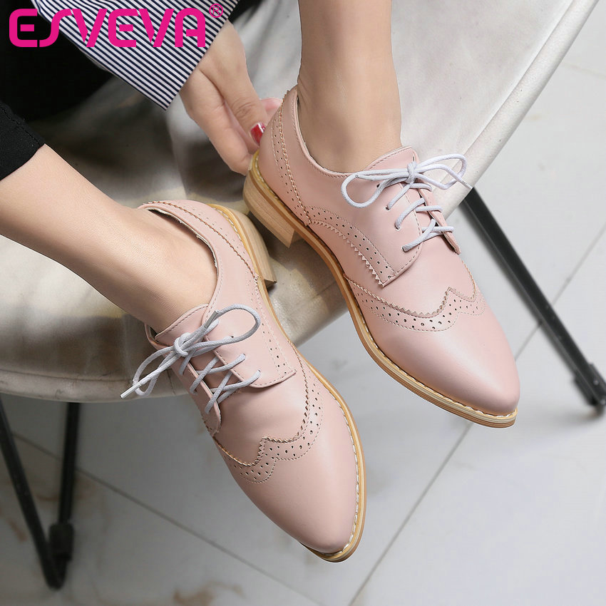 ESVEVA 2017 Pink White Spring Autumn Shoes British Lace Up Pointed Toe Women Pumps Square Low Heel Casual Women Shoes Size 34-43<br><br>Aliexpress
