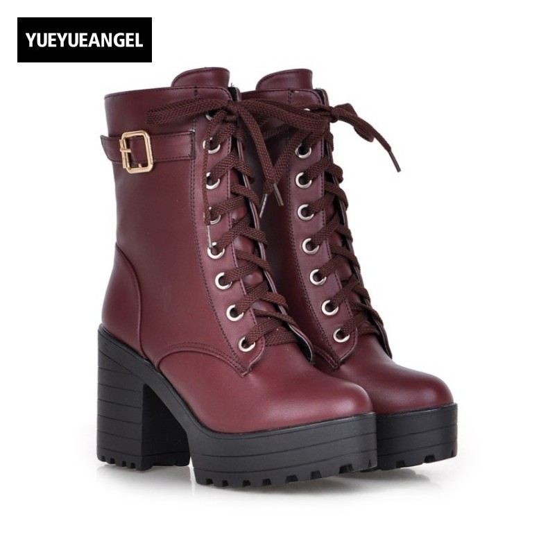 2017 New Fashion European Womens Platform Boots Lace Up Faux Leather Super High Heel Round Toe Plus Size 34-43 Female Shoes<br>