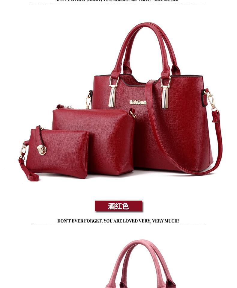 2017 New Arrival Lady 3 Set/pcs Casual Pu Handbag Large Capacity Tote Bags Soft Classic Day Clutches Women Elegant Shoulder Bag