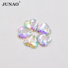 JUNAO 10mm Sewing Heart Shape Crystal AB Rhinestone Flatback Strass Sew On Acrylic Crystal Stones For Clothes Dress Decor 500pcs