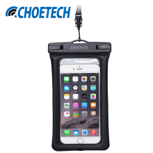 CHOETECH Clear TPU Inflatable Waterproof Mobile Phone Bag with Strap Dry Pouch Cover for iPhone Samsung Galaxy S7 Swimming Cases