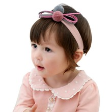 Sweet Blue violet ball Butterfly Knot Baby Girls Kids Hair Headband Infant Bow Headgear Kid Band Children Hair Accessories(China)