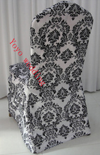 white and black flocking taffeta damask chair cover(China)
