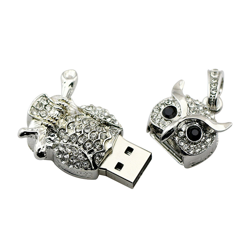 Animal USB Flash Drive Metal Diamond Owl Pendrive Nighthawk Pen Drive 4GB 8GB 16GB 32GB 64GB USB Memory Stick Gift With Necklace 21