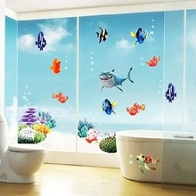 1pc Fish Seabed General Mobilization PVC Wall Stickers Living Room Home Decorations Creative DIY Office Wall Art Vivid(China)