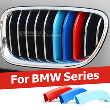 3 Colors ABS 3D Molding M Styling Front Grille Trim Strips Cover Motorsport  Stickers For BMW 3 4 5 X5 X6 F10 F18 F30 F35