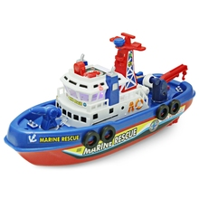 JMT Electric Boat Children Marine Rescue Toys Boat Fire Boat Children Electric Toy Navigation Non-remote Warship Gift High Speed(China)