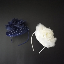 Navy Bkue Rhinestone Sinamay Base Fascinator Hairband Ivory Vintage Royal Ladies Evening Party Wedding Headband Headwear New
