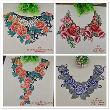 Multicolour flower embroidery collar cravat collar fabric laciness accessories