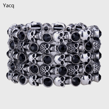 YACQ Skull Skeleton Stretch Cuff Bracelet for Women Biker Bling Crystal Jewelry Antique Silver Color Wholesale Dropshipping D07(China)