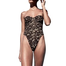 Corset Printed One-Piece Swimsuit lace one piece swimwear thong bottom swimsuit high cut lace bikinii crochet bathing suit new