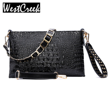 Envelope Evening Clutch Bags White Crocodile Pattern Genuine Leather Women Messenger Bags Crossbody Purses and Handbag Black