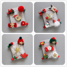 Christmas suits children's head ornaments baby holiday all-round hair clips red festive