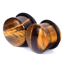 1Pair Brown Tiger Eye Organic Stone Plug and Tunnels Domed Single Flare Ear Plugs with Double Flare Gauges Body Jewelry