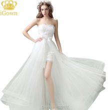 Detachable Train Wedding Dress Short Front Long Back Wedding Dress 2017 Ivory Color Tiered Bride Dress Vestido de noiva T210