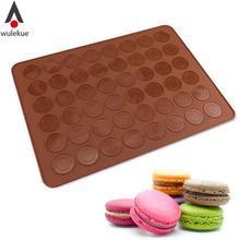 Wulekue Silicone 48-Cavity Muffins/Almond Round Cakes Tools Pastry Macaron Baking Sheet Mat Large Cookie Decorating Tools(China)