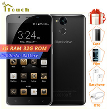 "BLACKVIEW P2 Lite 6000mAh Battery 3GB RAM 32GB ROM MTK6753 Octa Core Android 6.0 5.5"" 2.5D IPS FHD Screen 4G LTE Smartphone"