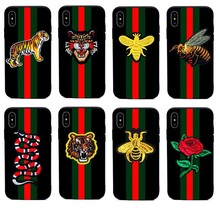 for Iphone X 6 6S 7 8 Plus 5 5S SE Soft Luxury Embroidere 3D Flower Bee Tiger Snake Brand Case Silicone Cover Cases Protector(China)