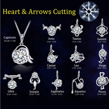 12 Constellation silver plated Pendant necklace women Wedding jewelry Heart & Arrows Cutting Crystal Zodiac Pendant Necklaces(China)
