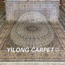 Yilong 8'x10' Handknotted Silk Persian Rug Furniture Valuable Carpet For Russia Market (LH181A8x10)(China)