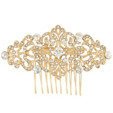 BELLA Fashion Gold Tone Bridal Flower Hair Comb Pins Austrian Crystal Head Piece For Wedding Hair Piece Bridesmaid Comb(China)