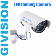CCTV Dummy Fake Home surveillance security Camera Outdoor waterproof emulational LED Light Blinking cameras Silver