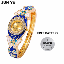 JUNYU 2017 Victorian Style Bracelet Resin Boho Fantasy Jewelry watches Blue Butterfly Crystal Rhinestone Bracelet Bangle watch(China)