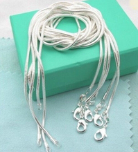 Wholesale 16 18 20 22 24 inch bulk c008 fashion silver color 1 MM snake chain accessory jewelry findings stamp 925