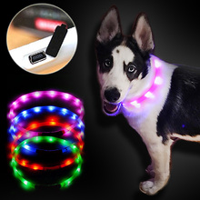 pet collar led lightOutdoor Dog Collars USB luminous USB charging Cat dog collar Teddy Night Flashing Light Collar Pet supplies(China)
