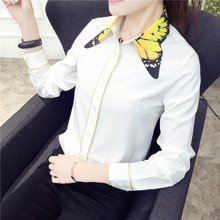 Butterfly Print Collar Blusa Feminino Summer Vintage White Blouse Long Sleeve ladies office shirts Women Tops Tees Chemise Femme