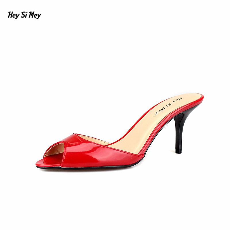 HSM Plus:35-45 46 47 48 ladies Stilettos 7cm Thin High-Heeled sexy Patent Leather Peep Toe pumps women Sandals wedding shoes<br>