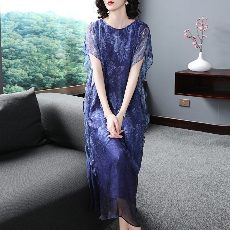 Women's Brand Slik Dress New Spring Summer Fashion Ladies' Sleeveless Long Loose Dress Noble Atmosphere Mother Printing Dresses