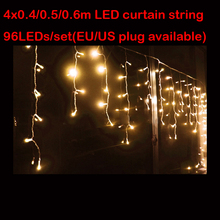 4M 96LED Curtain icicle string Fairy Outdoor Decoration string for Garden XMAS New Year Tree Light  Free Shipping