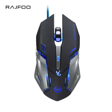RAJFOO Gaming Mouse Ajustable 3200DPI 6 Buttons Optical Macro Programming 1.5M USB Game Mouse 4 Color Breathing Variable Lights