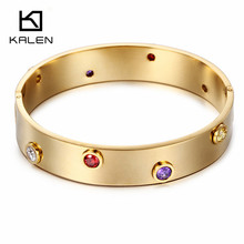 Kalen Fashion Stainless Steel Gold Color Crystal Bead Charm Bangle & Bracelet For Women Rose Gold Color Hinged Wristband Jewelry