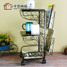 Thousands of goods unigarden European fashion magazine rack shelf storage iron wood coffee table books frame direct special offe