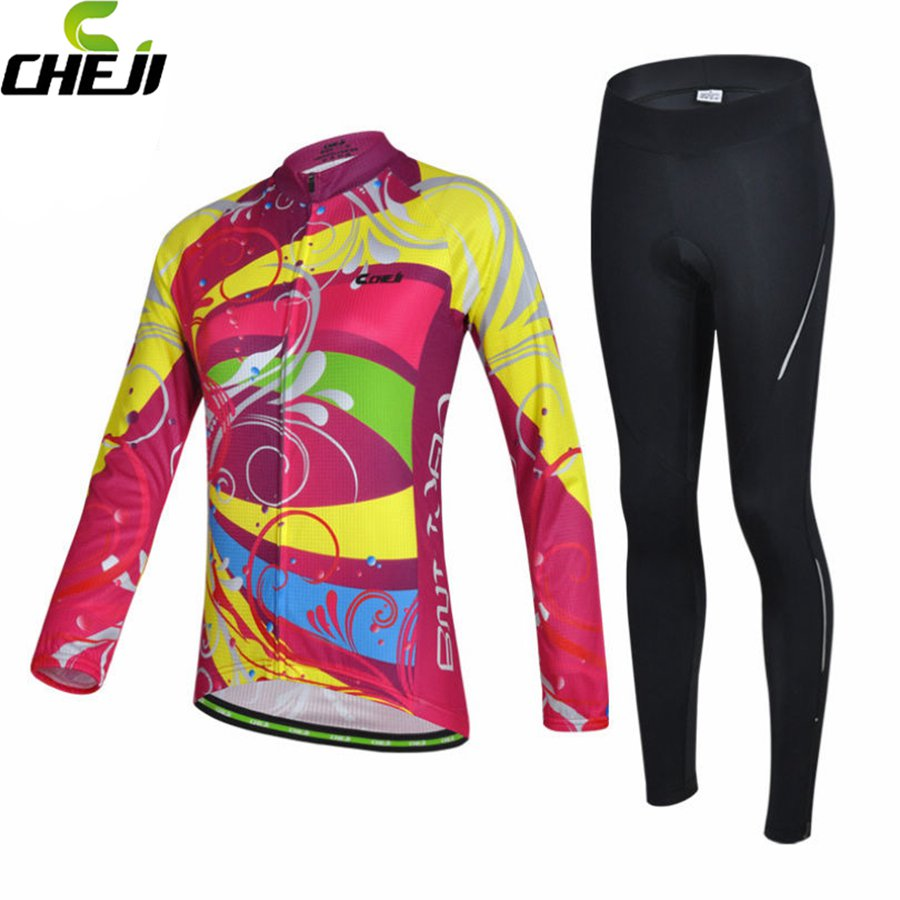 CHEJI Women Bicycle Pro Team Cycling Jersey Long Sleeve Pink Colorful Gel Padded Pants Set <br><br>Aliexpress