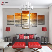 5 Panel Modern Sea Wave Painting Pictures Homd Decor Cuadros Wall Art Ocean Sunset Painting Canvas Prints Modular wall paintings