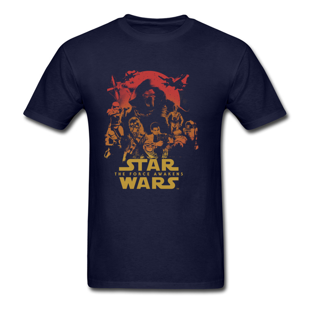 Force Awakens Poster Thanksgiving Day Pure Coon Crew Neck Tops Shirts Fashionable Tops Shirt New Coming T-shirts Force Awakens Poster navy