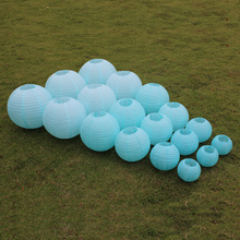 10 Pieces 6-8-10-12-14-16 Inch Light Blue Chinese Paper Lanterns For Party and Wedding Decoration Hang Paper Lanterns