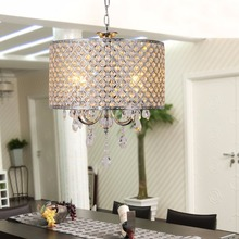 Drum Chrome Round Chandelier Crystal Modern 4 Lights Pendant Lamp Lighting Room
