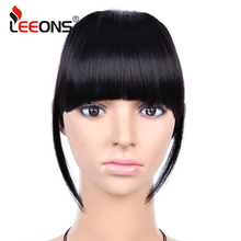 Leeons Short Striaght Blunt Bang Clip In Synthetic Hair Extensions Front False Fringe Hair Piece Black Brown Blonde 6 Inch(China)