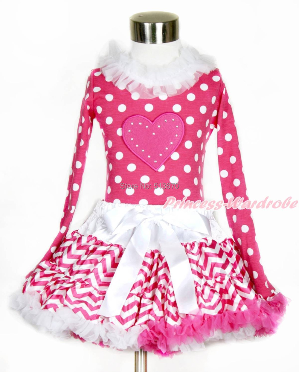 Valentine Hot Pink Heart White Dot Top Hot Pink White Wave Girl Pettiskirt 1-8Y MAPSA0203<br>