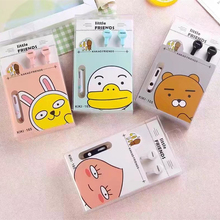 Cute Lovely Kakao Friends Bear Rabbit Chicken Peach 3.5mm In-Ear Stereo Earphones Candy Color Earbud With Microphone For Phones(China)