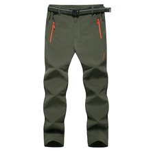 Autumn and winterOutdoor Pants menElastic Sweat Pants To Keep Warm Wind Rain Soft Shell   Pants In The Men's clothing