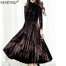 YAYEYOU Women's Fashion Dresses A-line Pleated Vintage Dress Long Sleeve Velvet Dress(China)